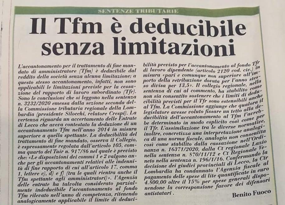 TFM deducibile senza limitazioni: confermato il nuovo orientamento giurisprudenziale