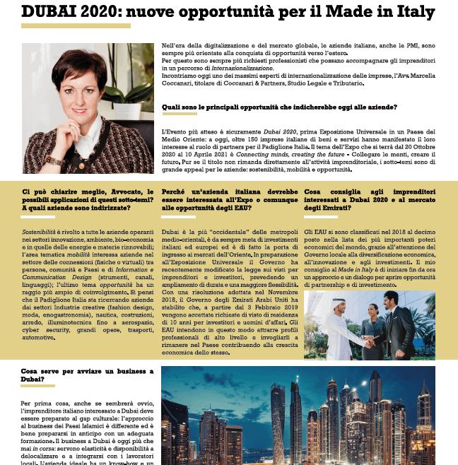 Dubai 2020: nuove opportunità per il Made in Italy